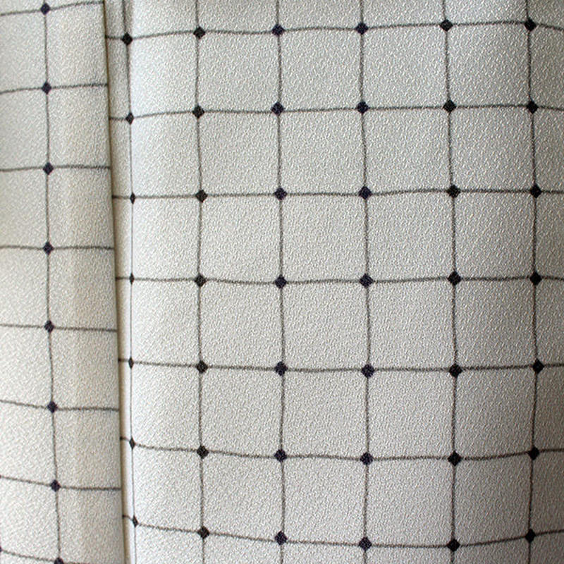 【袷】アイボリーホワイト地格子 ポリエステル製 小紋