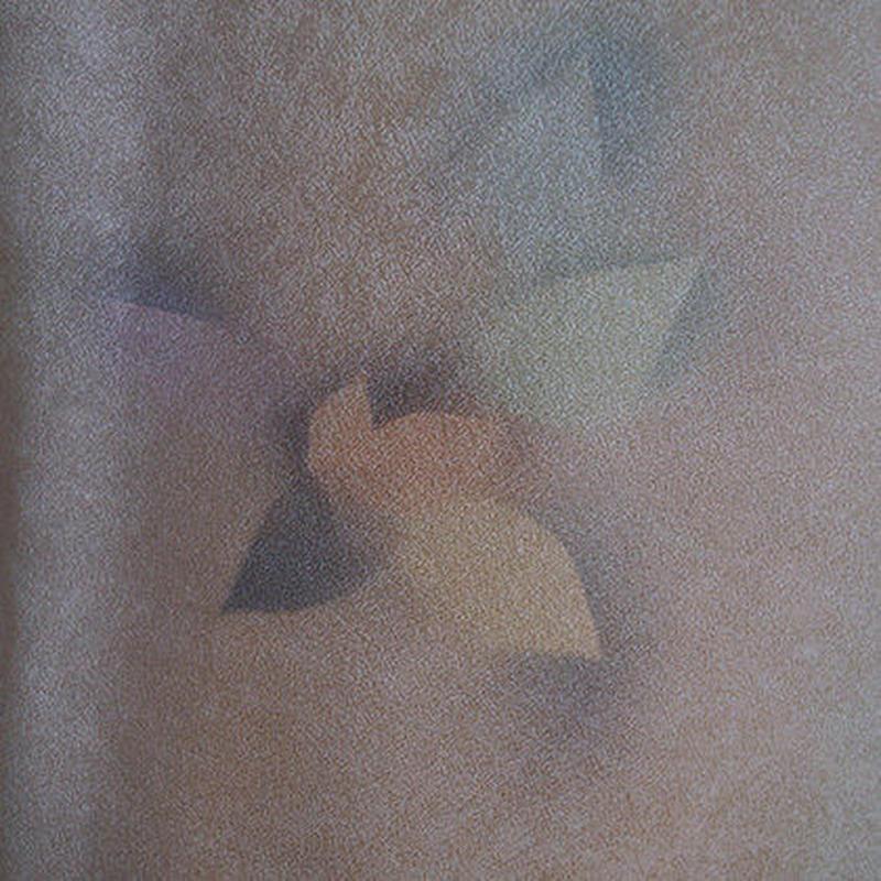 【袷】葉っぱ文薄香色ぼかし小紋