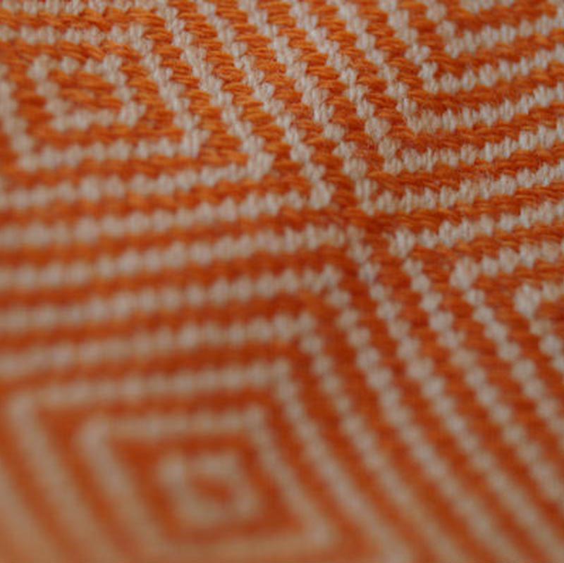 【ストール】MIA ZIA 菱形モザイク模様 オレンジ×生成
