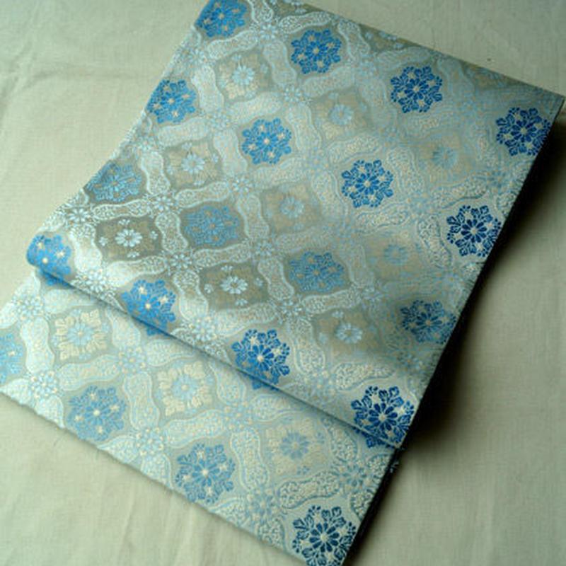 HOLD中【ふくろ帯】生成り・水色・ブルー 菱に華文 袋帯