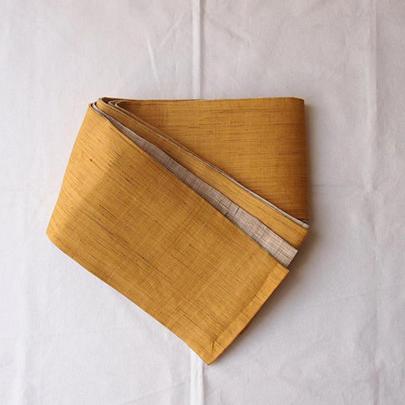 【半幅帯】本麻リバーシブル 黄金色×亜麻色