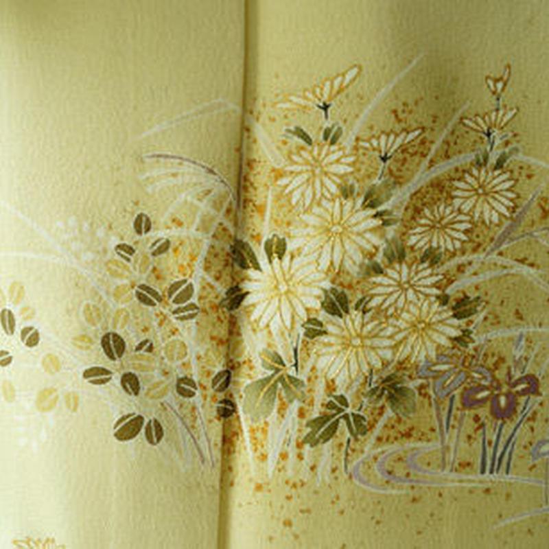 【袷】淡黄色(たんこういろ)植物文 附下訪問着