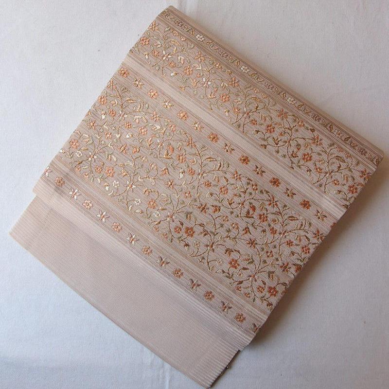 【夏なごや帯】伽羅色 花唐草文 絽なごや帯