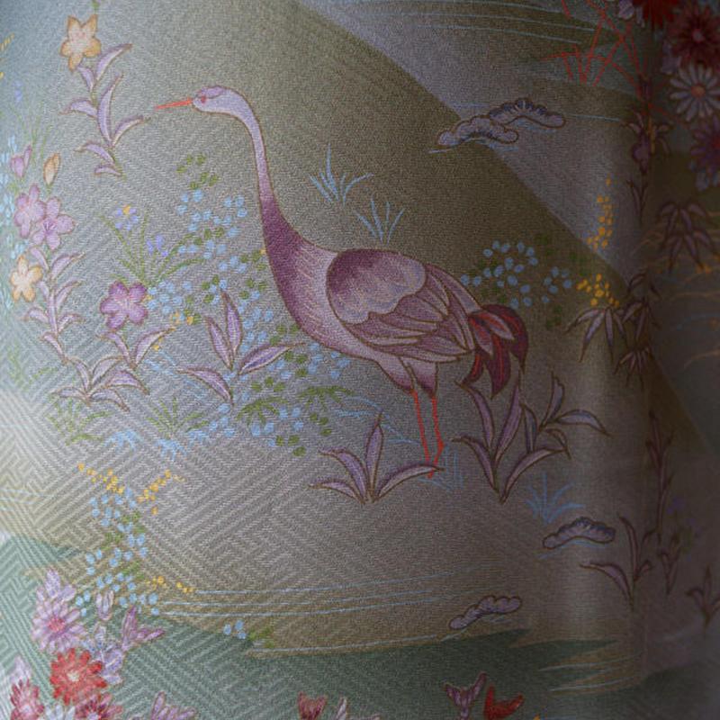 【袷】カーキとグレイ  花と鳥の風景柄小紋