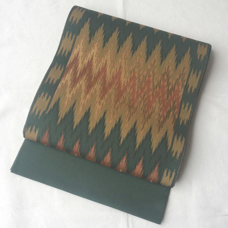 【ふくろ帯】フォレストグリーン系 イカット風横段 ふくろ帯