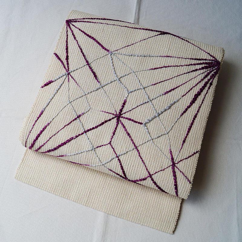 【夏なごや帯】オフホワイト地 幾何学刺繍文 八寸なごや帯