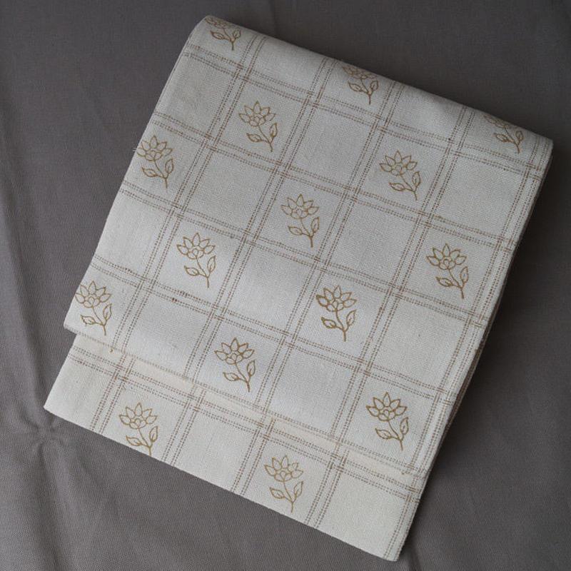 【ふくろ帯】格子に花文 ムガシルク洒落袋帯