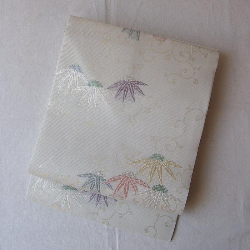 【夏なごや帯】笹に雪輪文 唐草文 絽なごや帯