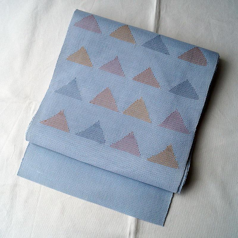 【夏なごや帯】薄水色 三角文 八寸なごや帯