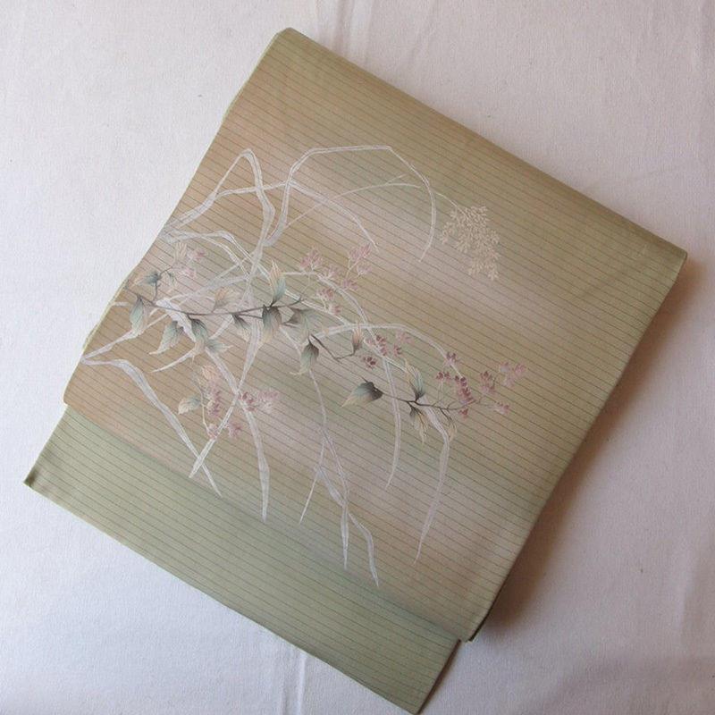 【夏なごや帯】薄青朽葉色 紫小花 絽なごや帯