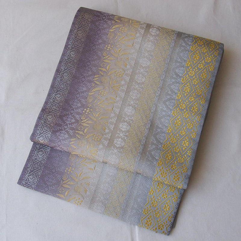 【ふくろ帯】更紗と文様縞紫系暈しふくろ帯