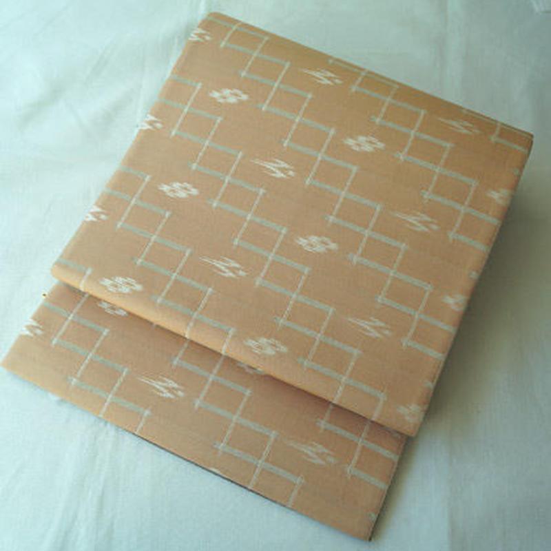 【ふくろ帯】サーモンピンク地 絣文 リバーシブル 洒落袋帯