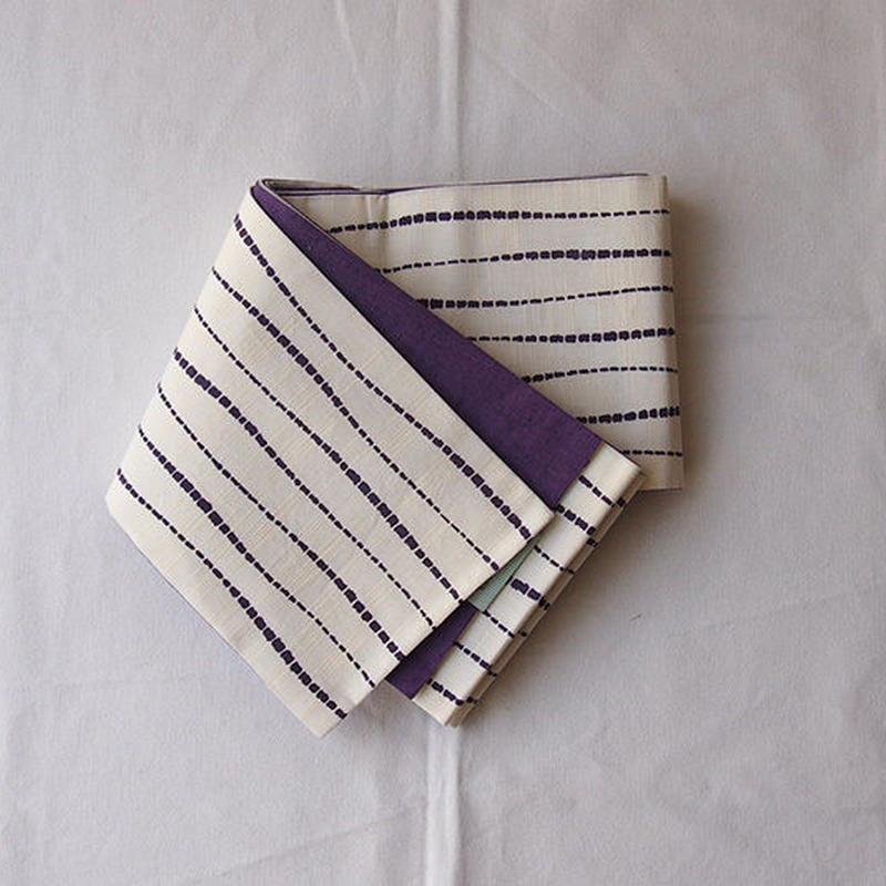 【半幅帯】生成り×紫色 板締め絞り文 半幅帯