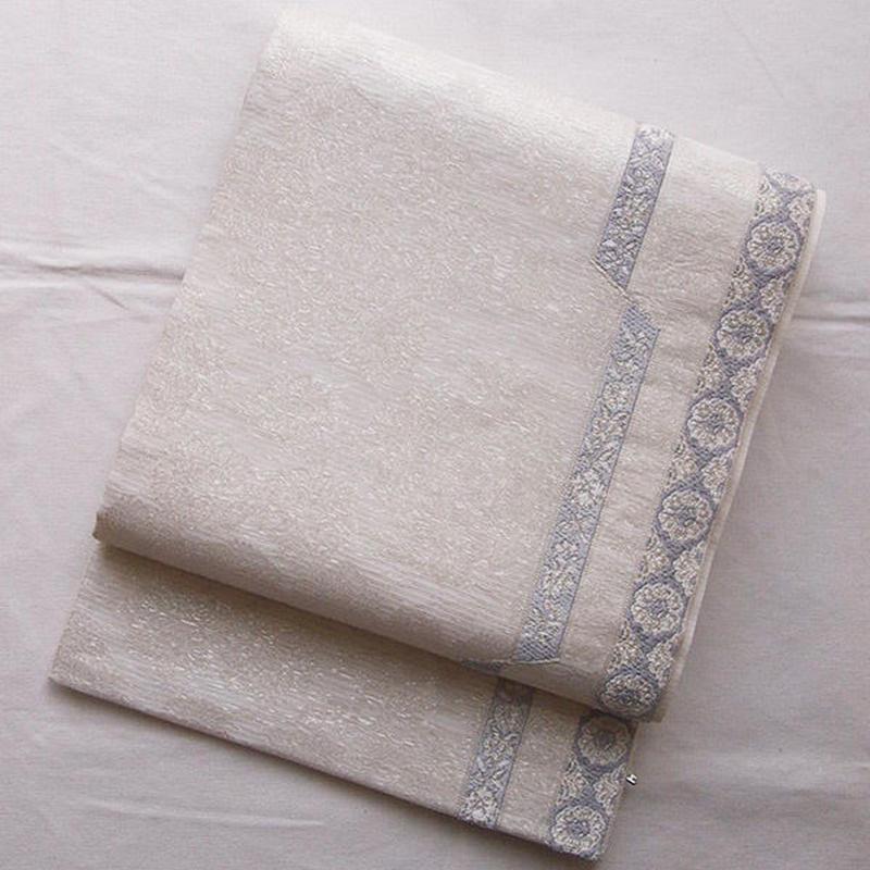 【夏ふくろ帯】オフホワイト地花文と縞の袋帯