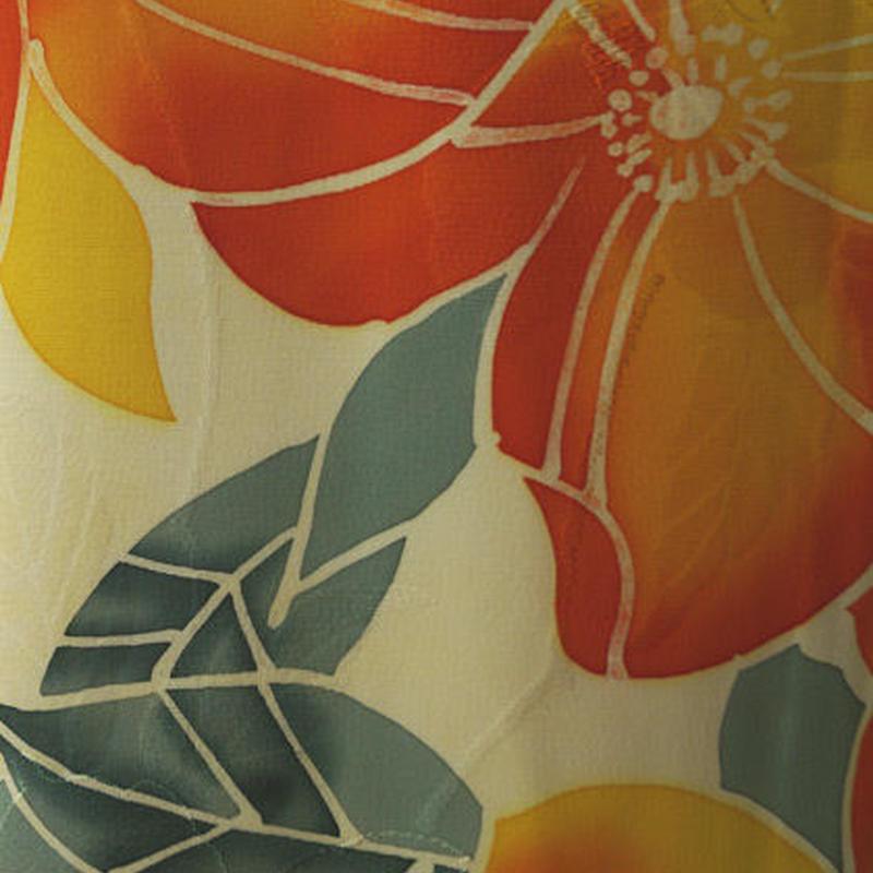【袷】パッションカラー 南国の花柄 小紋