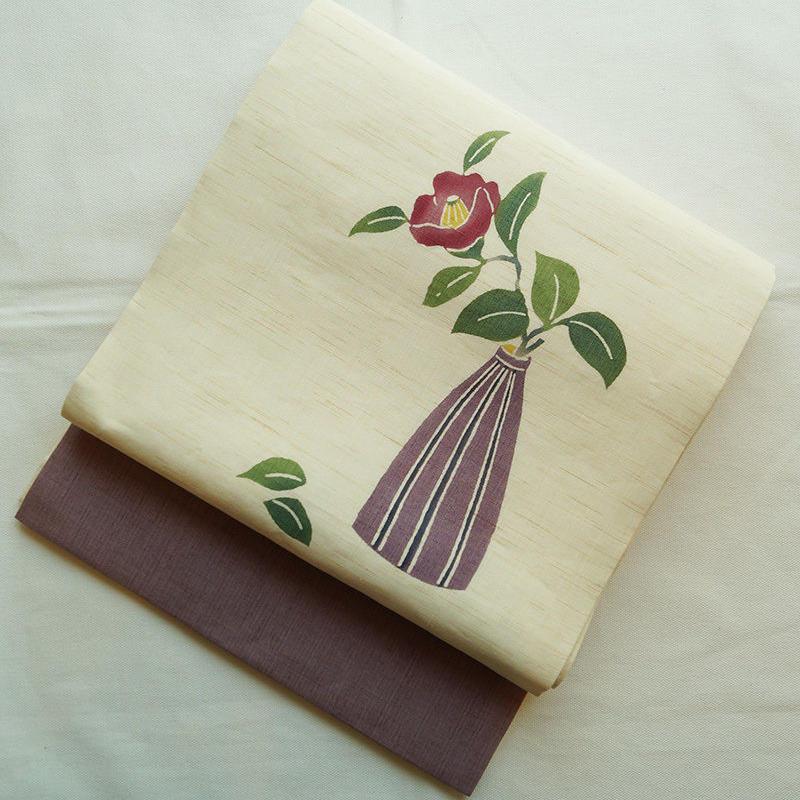 【夏・なごや帯】椿の花・本麻開きなごや帯