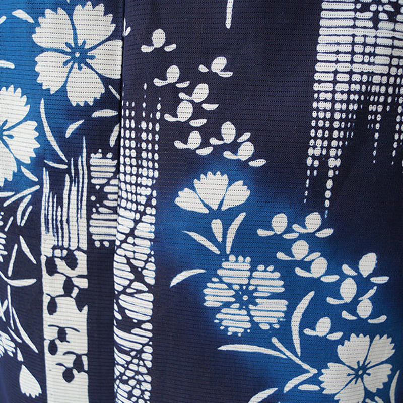 【浴衣】濃藍色 撫子柄 綿絽浴衣
