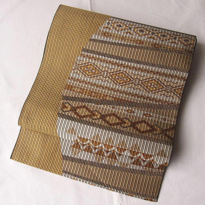 【なごや帯】山吹茶系 幾何学柄織り 八寸なごや帯