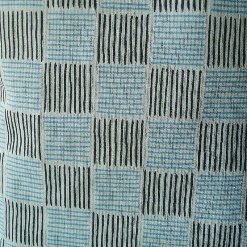 【浴衣】空色と墨色 細縞の市松浴衣