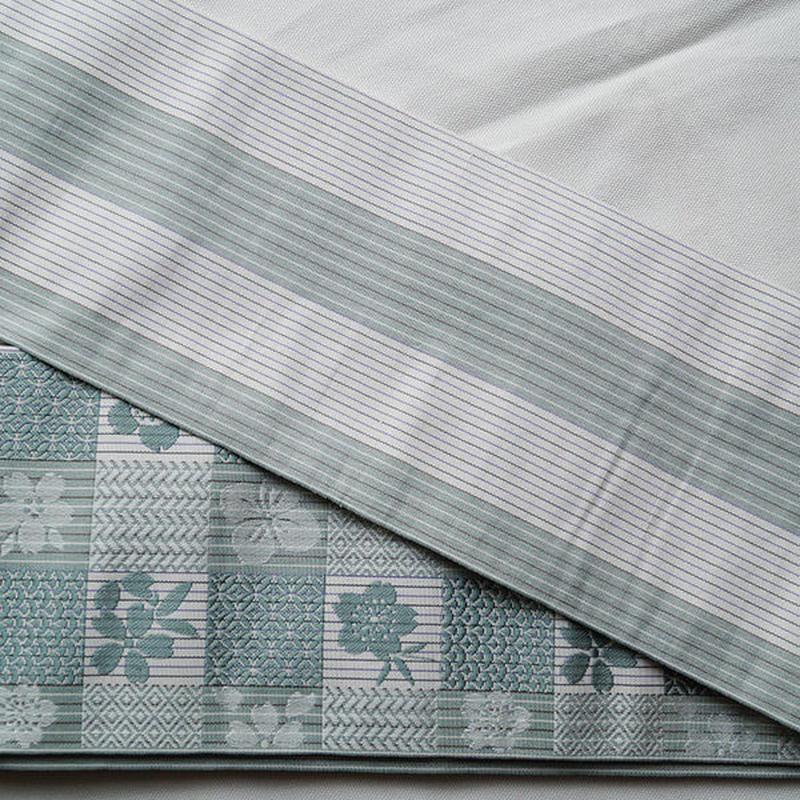【半幅帯】青磁鼠色系リバーシブル半幅帯