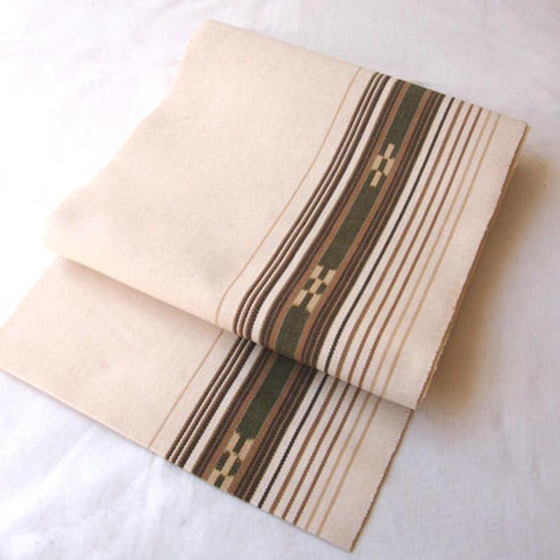 【なごや帯】生成り地 ミンサー織 八寸開き名古屋帯