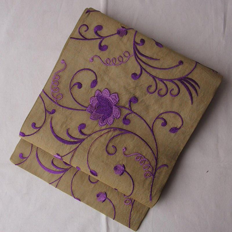 【なごや帯】葡萄色花刺繍インドシルクなごや帯