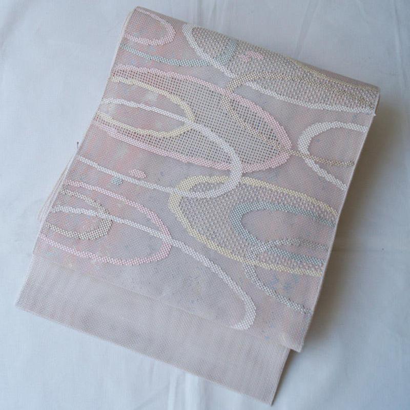 HOLD中・【夏・ふくろ帯】箔を閉じ込めた 重なるだ円模様の羅ふくろ帯