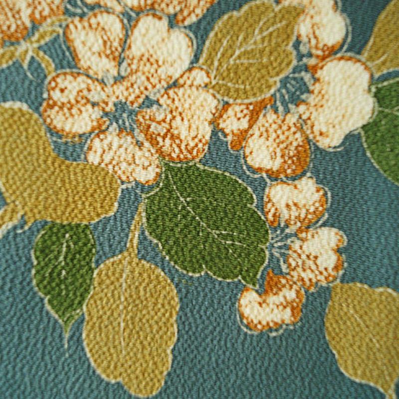 【袷】紺鼠色 満開の花柄 小紋