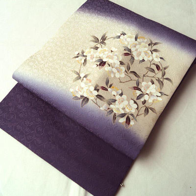 【なごや帯】紫×生成り暈し リースのような桜文 なごや帯
