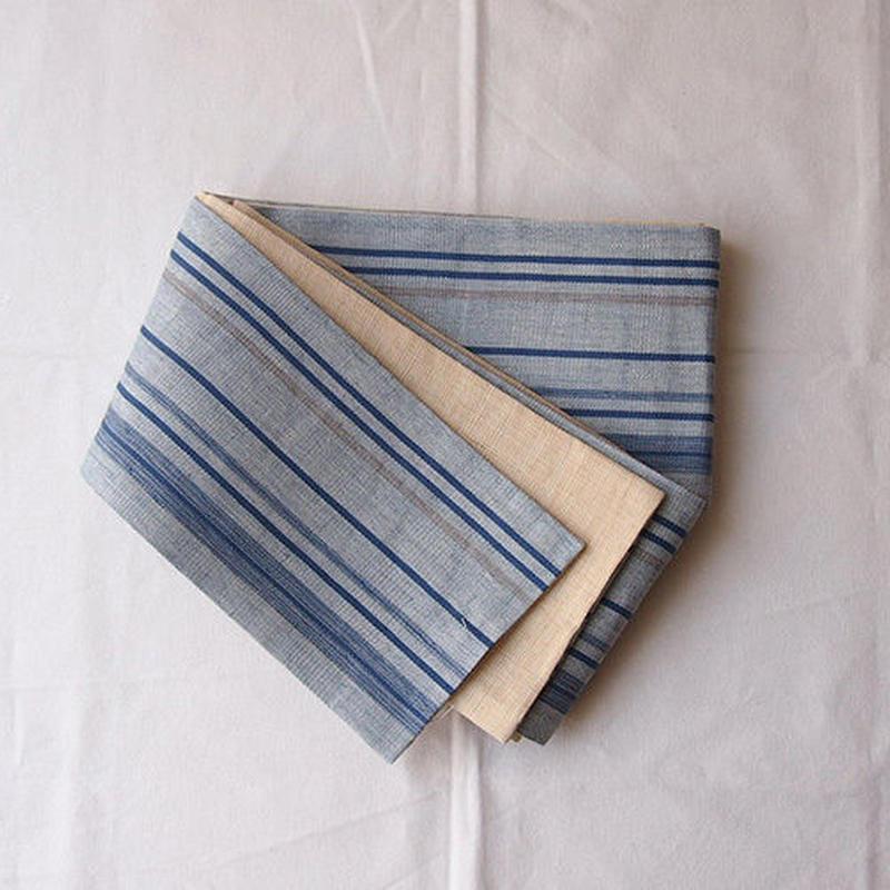 【半幅帯】濃淡ブルーにライン 泰荘麻 半幅帯