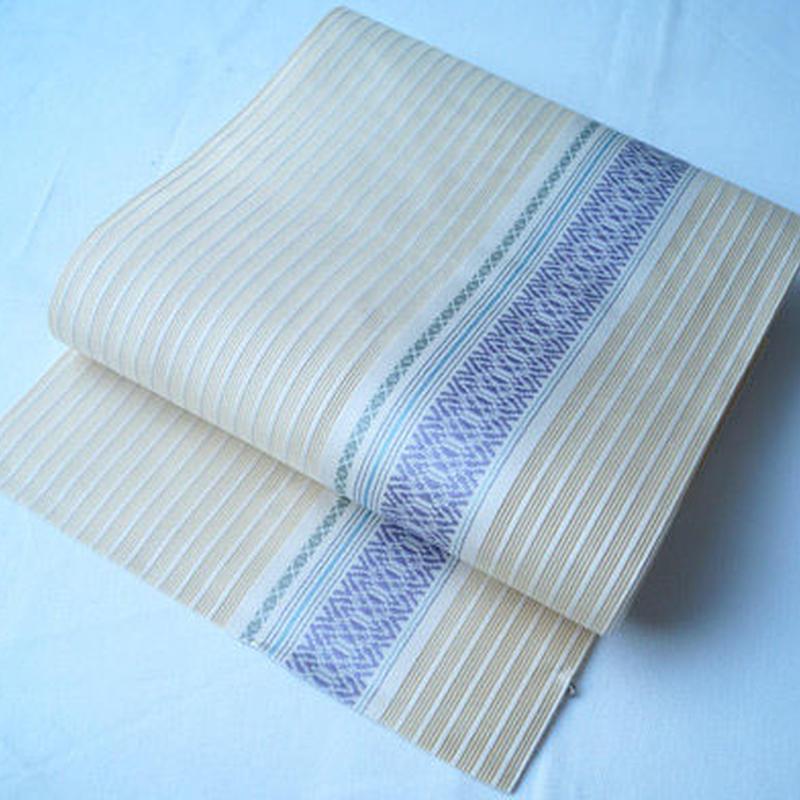 【夏なごや帯】イエローベージュ地にライン 紗博多織 名古屋帯
