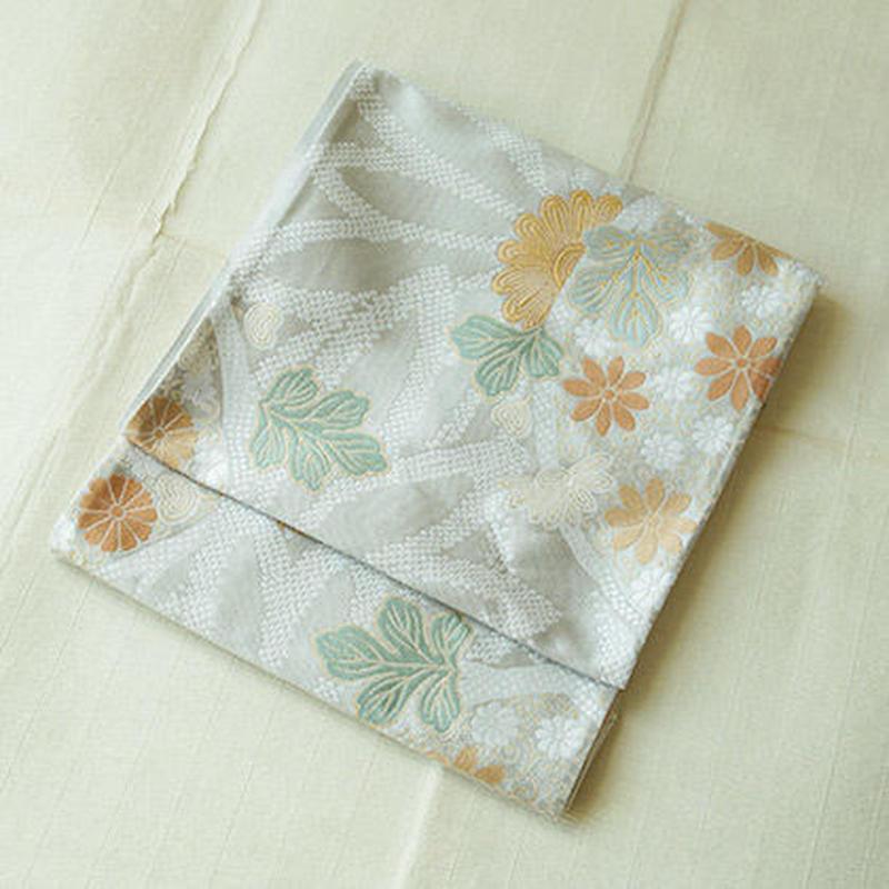 【ふくろ帯】菊花文紹巴綾織ふくろ帯地・未仕立て品
