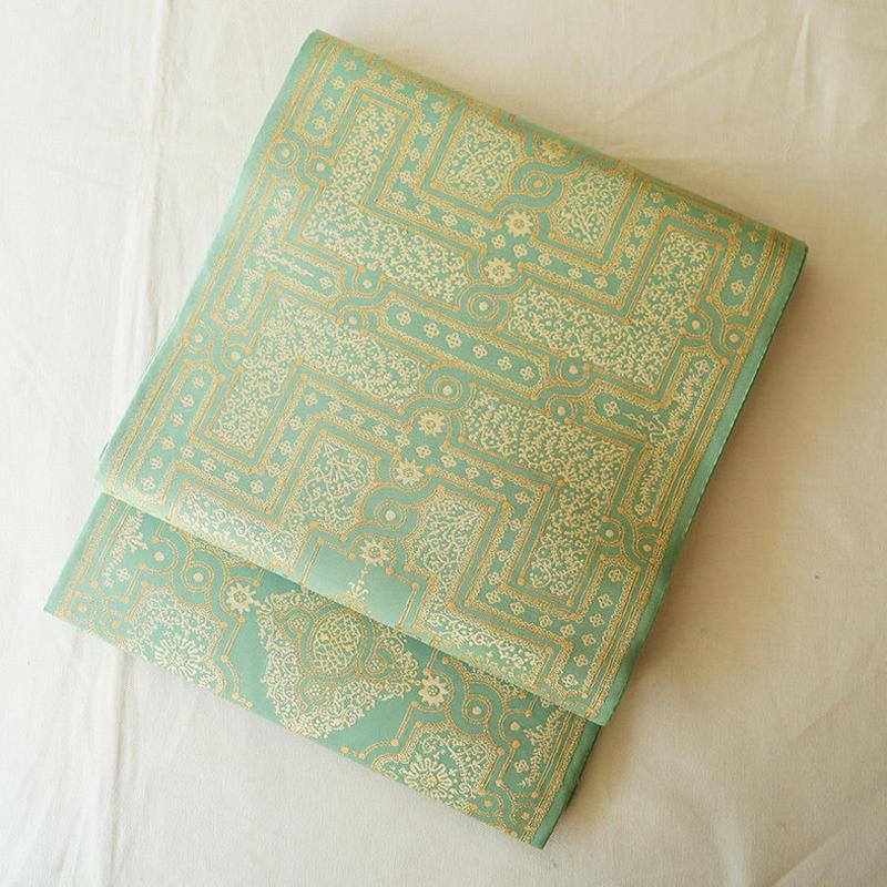 【ふくろ帯】翡翠色イスラム文様ふくろ帯