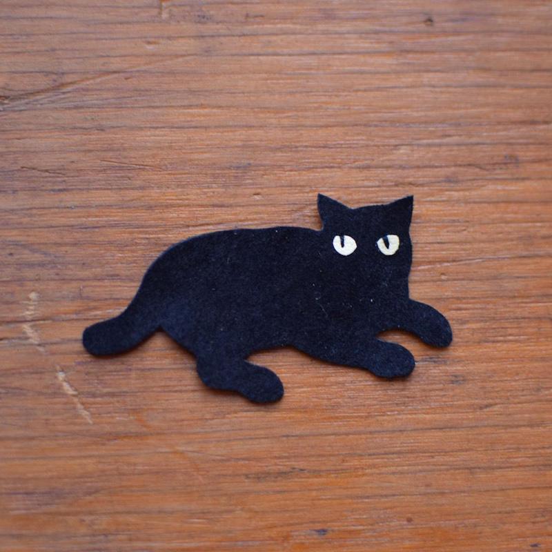 動物ワッペン(ポーチ用) 黒猫 《単品購入はできません》