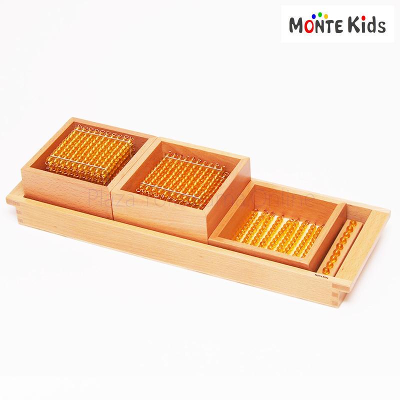【MONTE Kids】MK-003  十進法 1-1000の金ビーズ