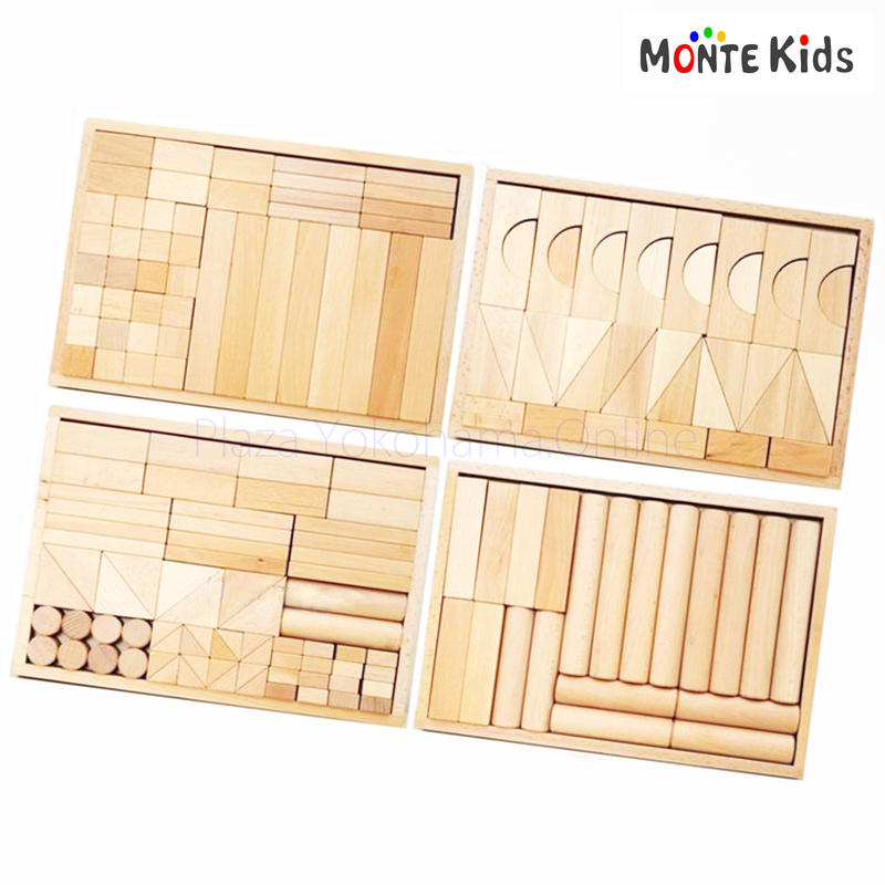 【MONTE Kids】MK-055  180ピース 4段 無垢 積み木セット  ≪OUTLET≫