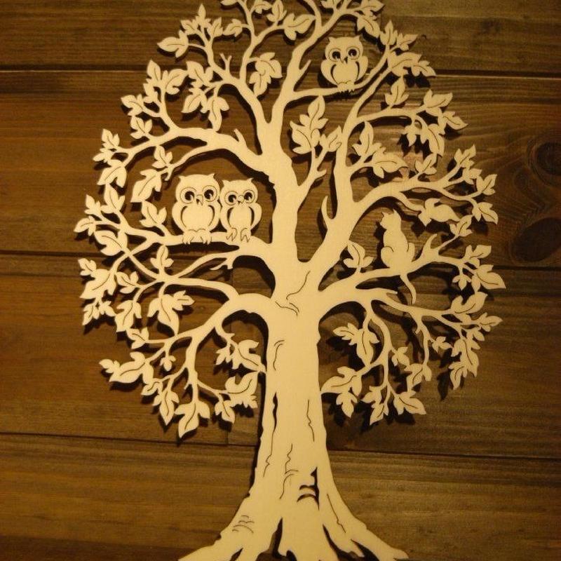 ヴァルトファブリック 木のまどかざり ふくろうとねこ