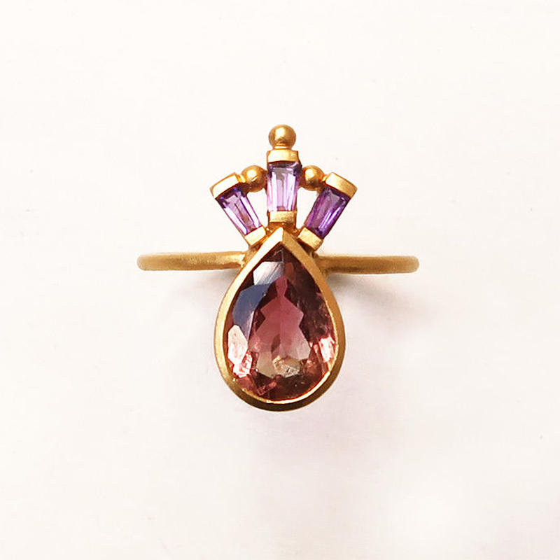 Peacock Crown  { Ring }  tourmaline. amethyst. K18