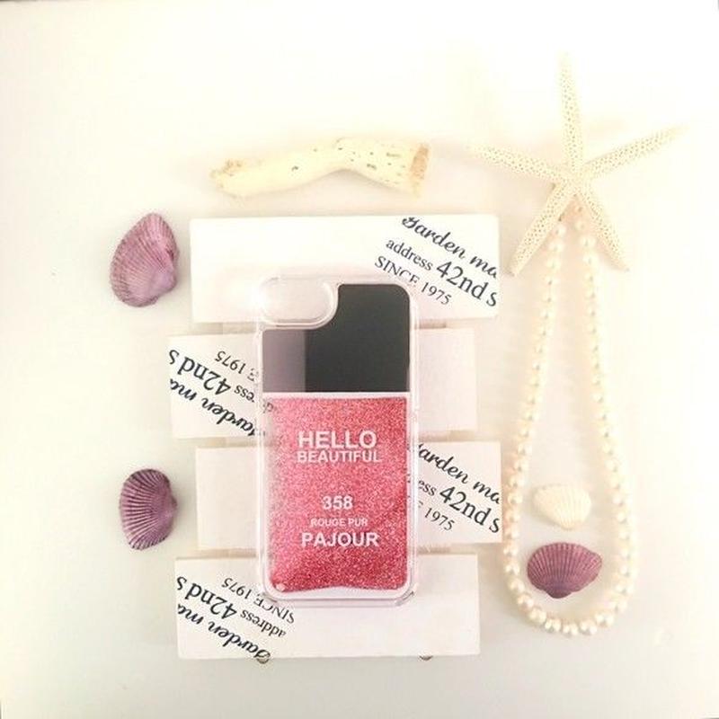 pajour(パジュール) ピンク ラメ入りネイルボトル柄 スマホ ハードケース