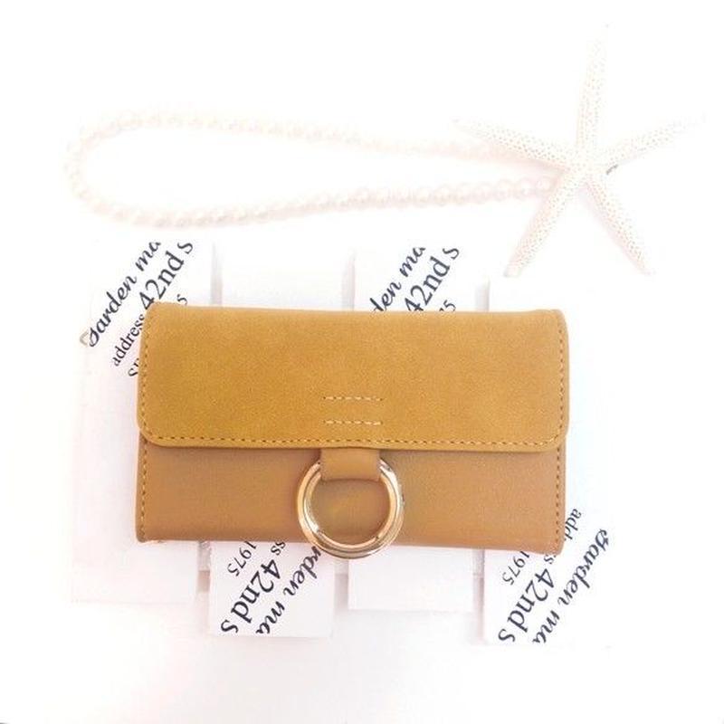 PAJOUR マスタード色 真鍮リングスエード手帳型ケース