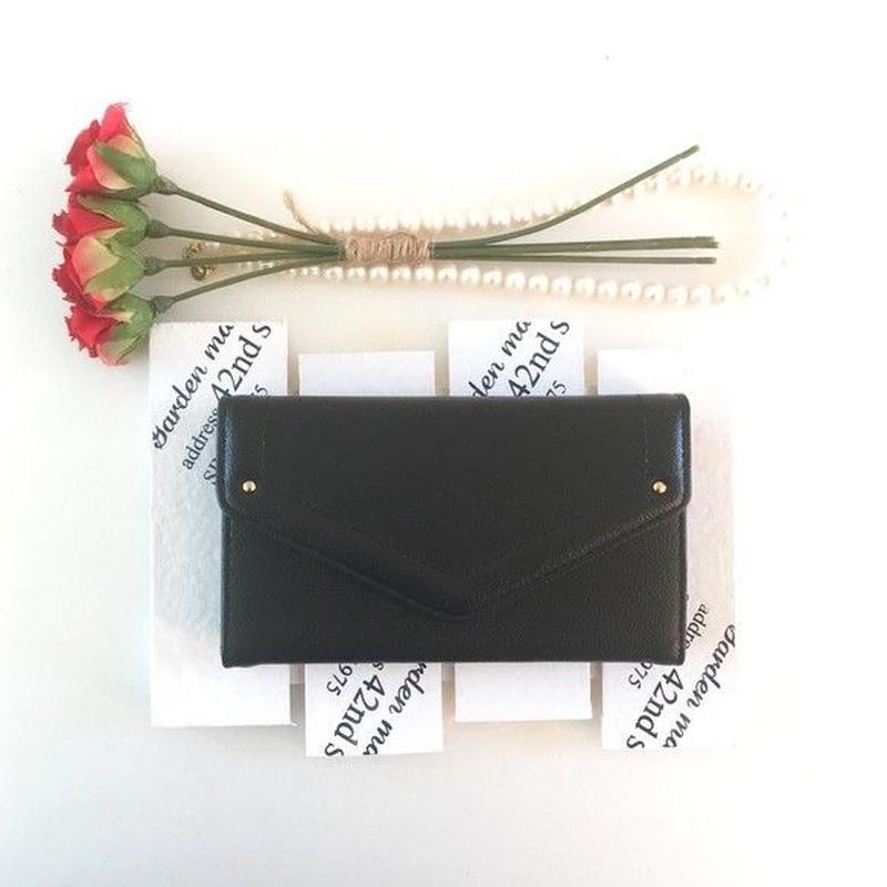 PAJOUR 大人ピアノブラック色 V字 クラッチしっとりレザー手帳型ケース (再販 )(ミラー付き)