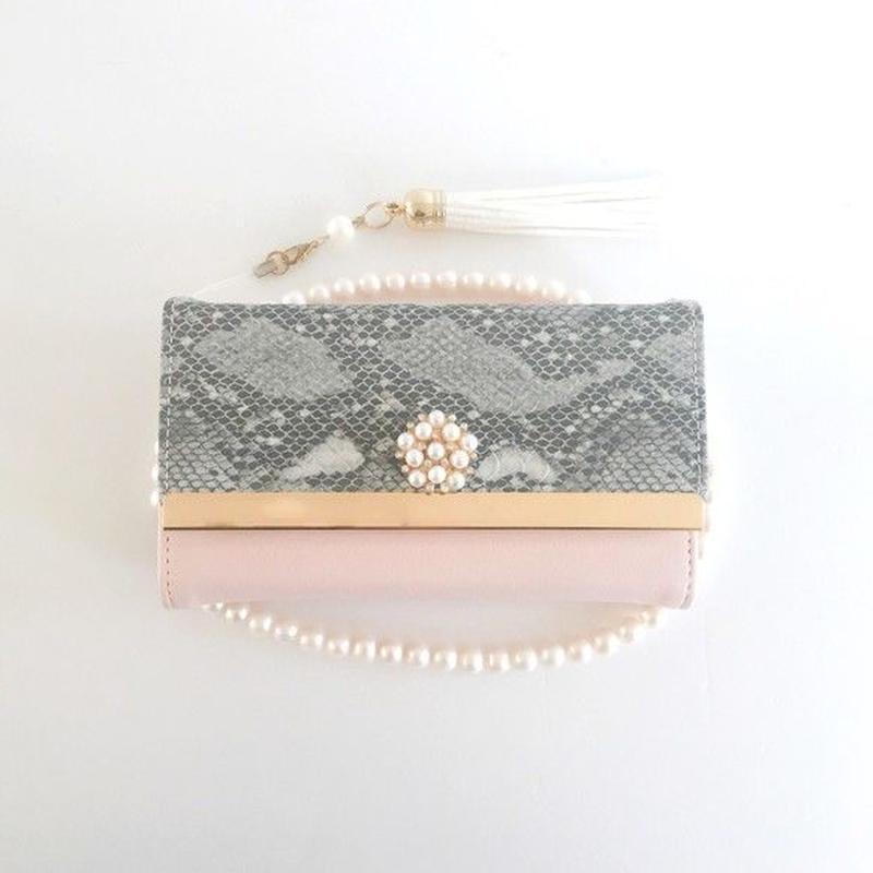 PAJOUR 大人ペールピンク色のエレガントなパイソン柄 手帳型ケース(パール)(ビジュー)