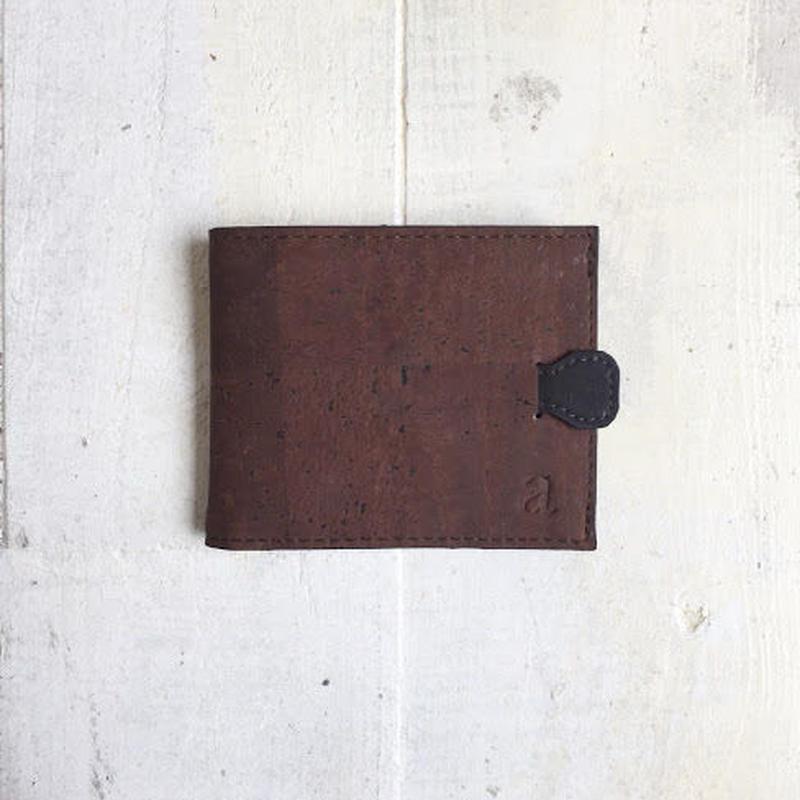 Aasha プルタブ付二つ折り財布~ブラウン×ブラック~ コルク製