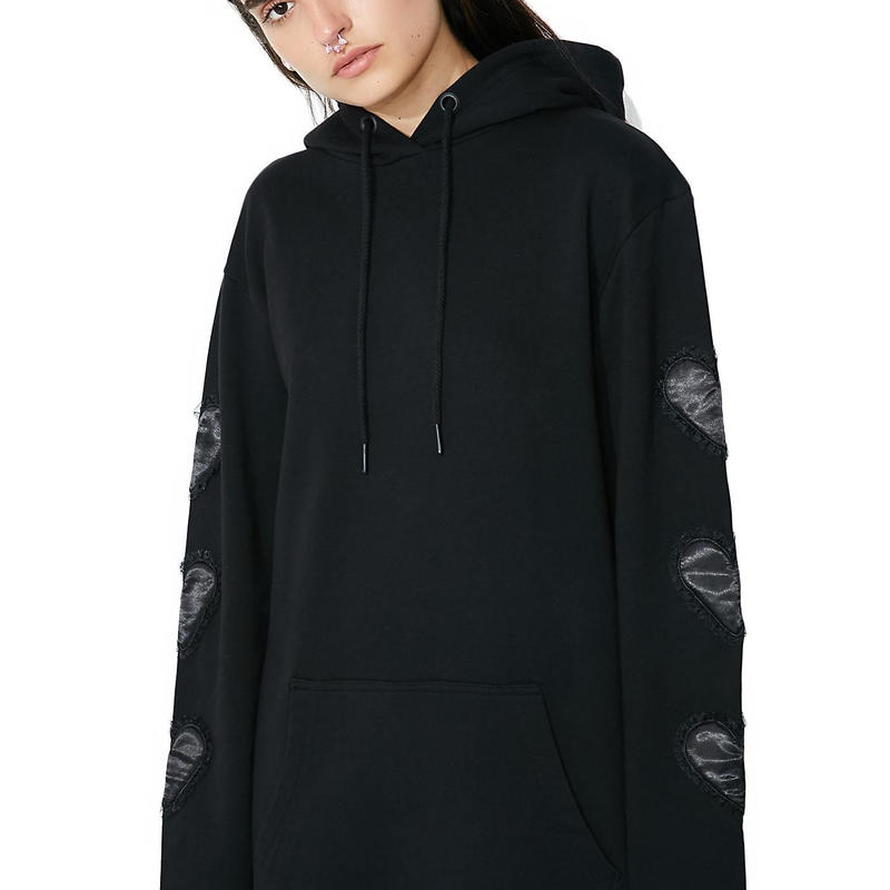 LAZY OAF  Oversized Hoodie With Black Like Your Heart Sleeve