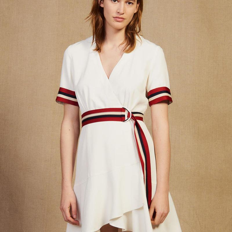 sandro サンドロ   WRAPAROUND DRESS WITH RIBBED EDGING ワンピース $395