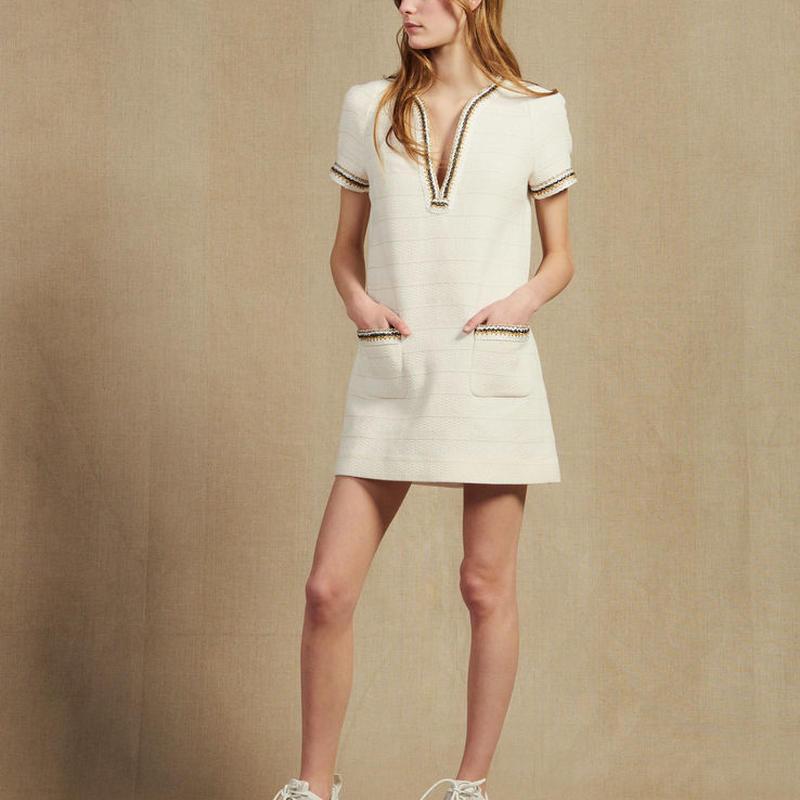 sandro サンドロ    SHORT TWEED DRESS WITH BRAID TRIM ワンピース $430
