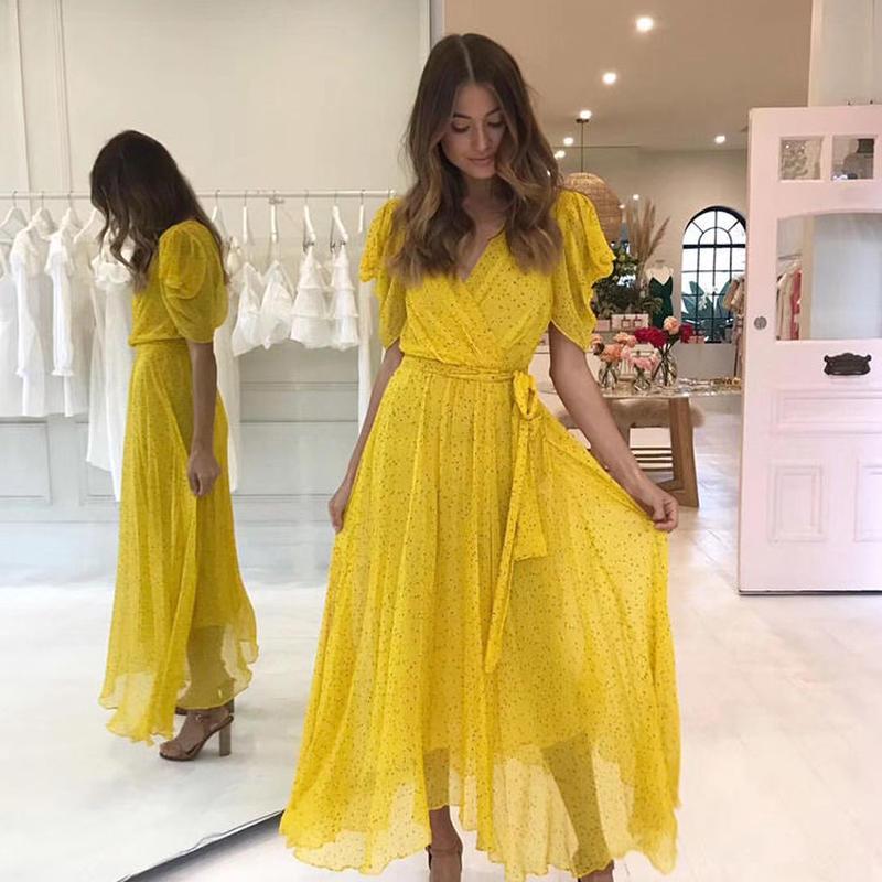 BEC & BRIDGE   Yellow Hibiscus Golden Midi Dress ワンピース
