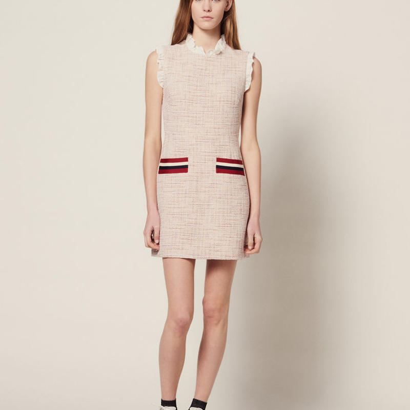 sandro サンドロ    STRAIGHT-CUT SHORT TWEED DRESS ワンピース $395