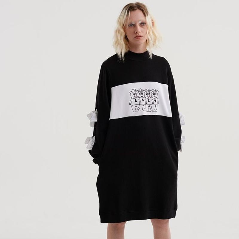 LAZY OAF  Triple X Bear Sweatshirt Sweater Dress