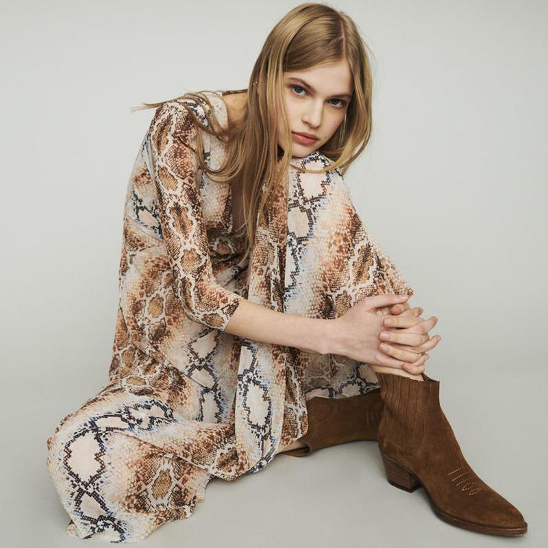 Maje マージュ LONG DRESS WITH PYTHON PRINTワンピース 定価$415